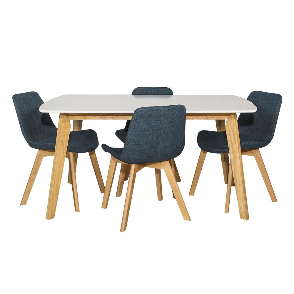 Retro Modern 5 Piece Dining Set - White & Natural/Blue. Picture 1