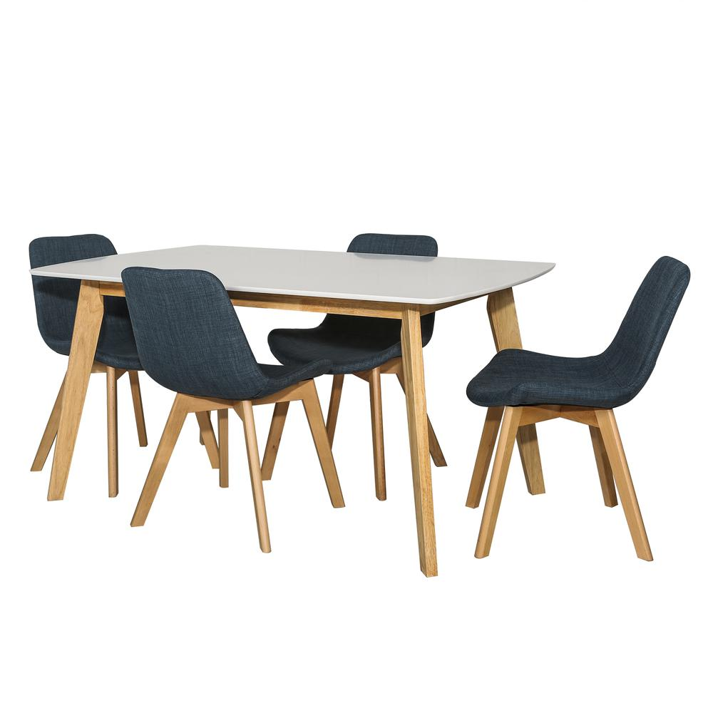 Retro Modern 5 Piece Dining Set - White & Natural/Blue. Picture 3
