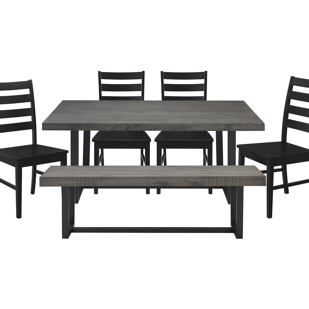 6-Piece Distressed Wood Farmhouse Dining Set - Grey/Black. Picture 1