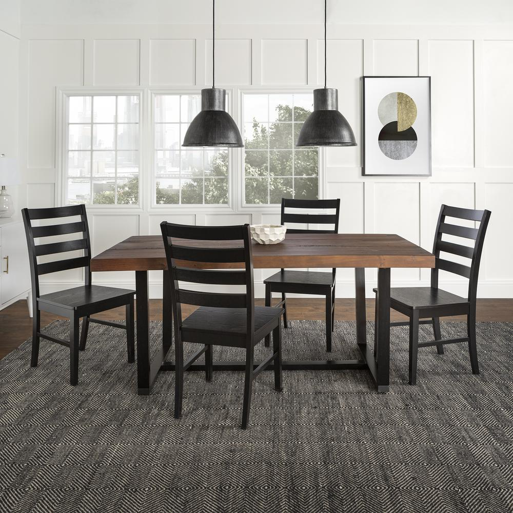 5-Piece Farmhouse Dining Set - Mahogany/Black. Picture 2