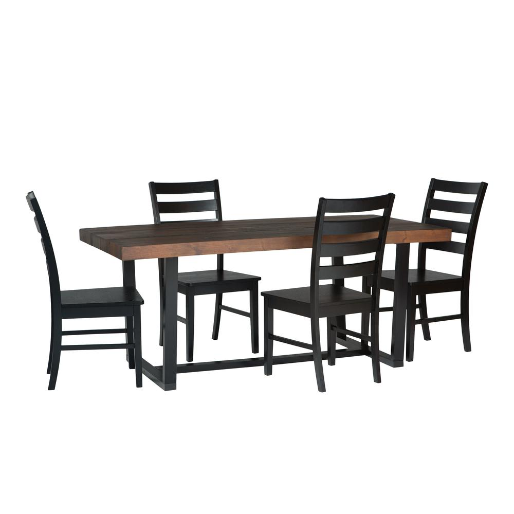 5-Piece Farmhouse Dining Set - Mahogany/Black. Picture 1