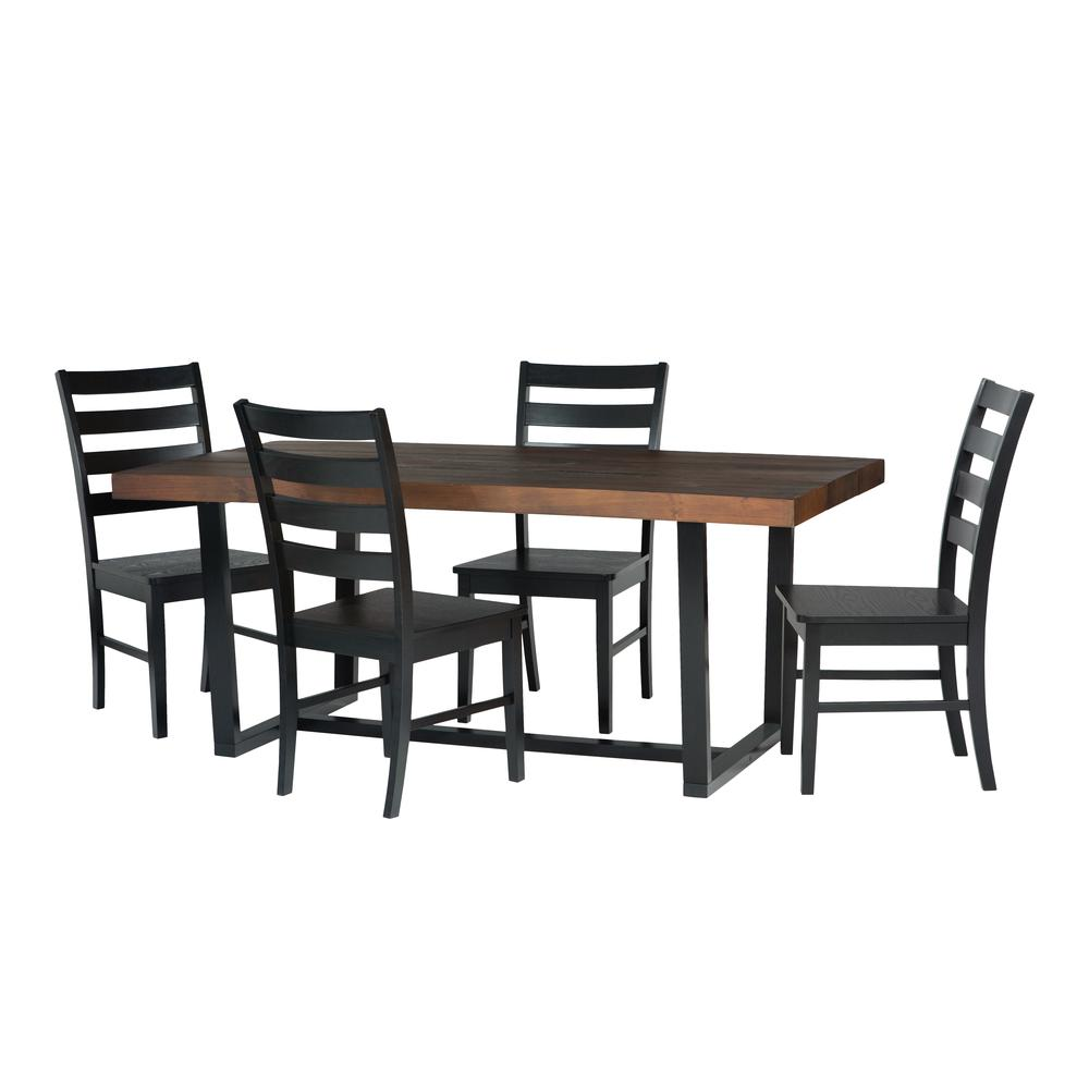 5-Piece Farmhouse Dining Set - Mahogany/Black. Picture 3