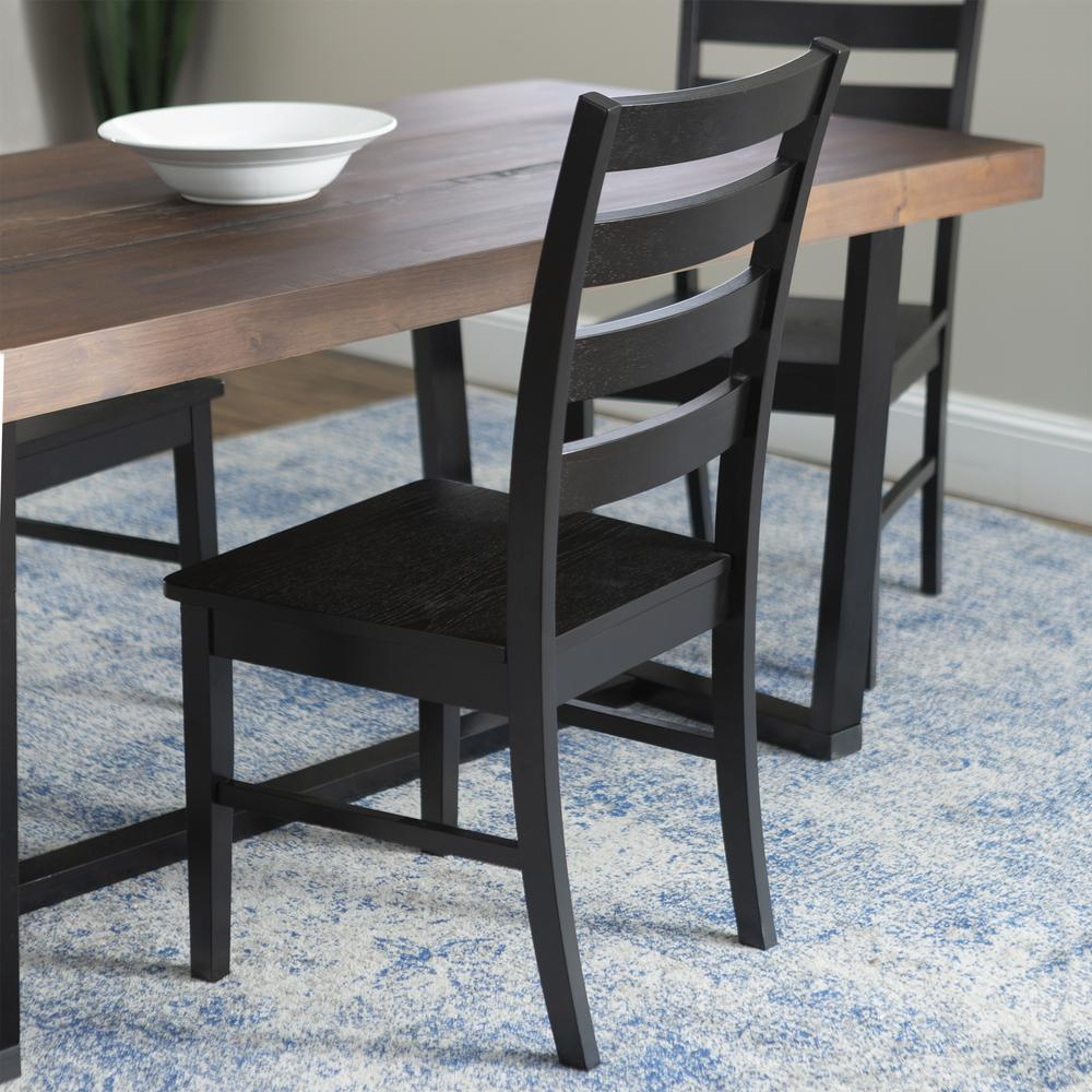 5-Piece Farmhouse Dining Set - Mahogany/Black. Picture 4