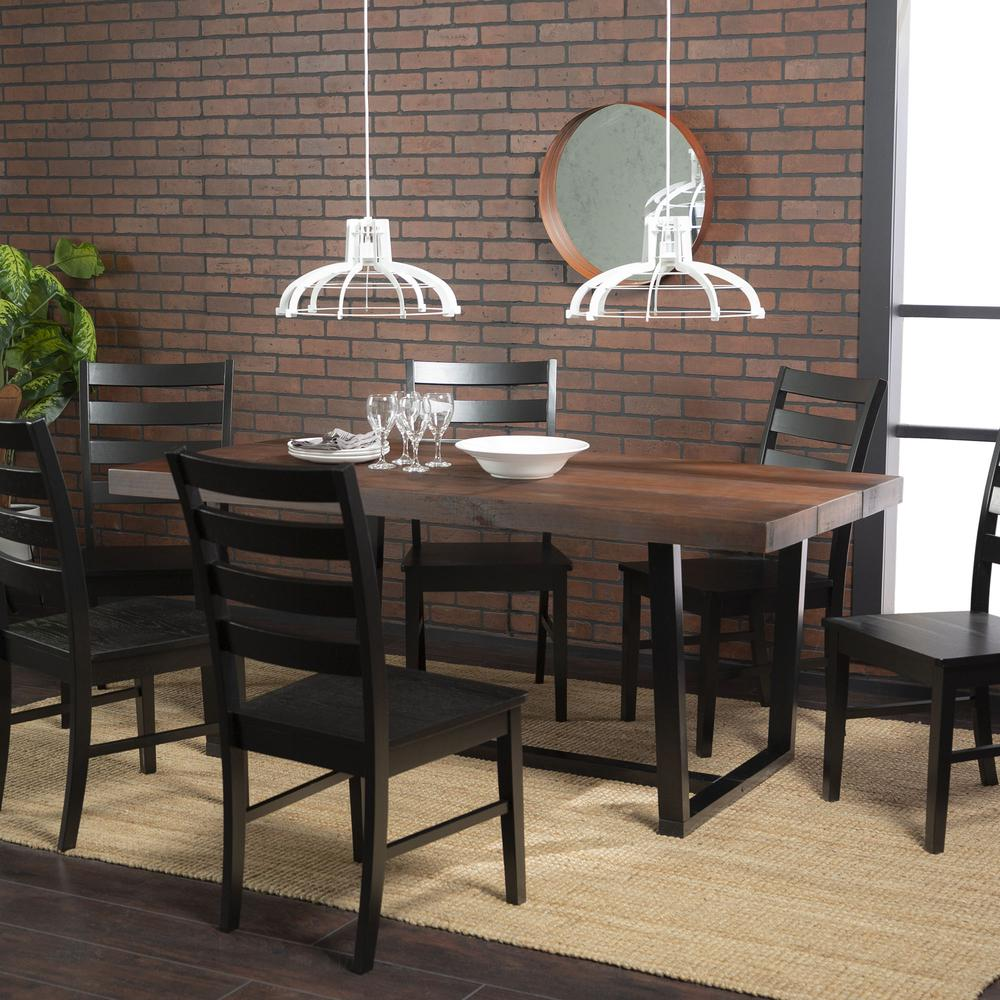 7-Piece Rustic Farmhouse Industrial Dining Set - Mahogany / Black. Picture 5