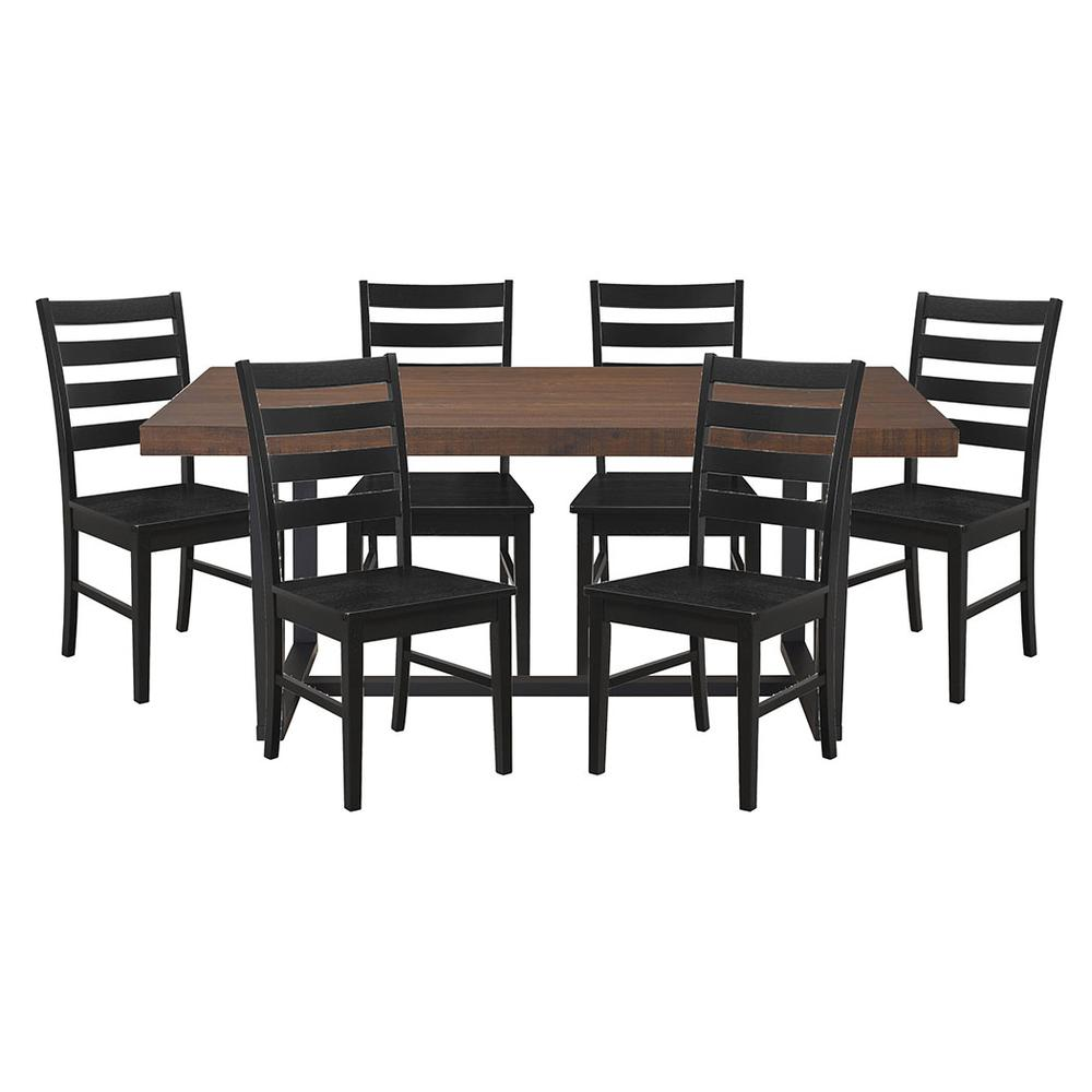 7-Piece Rustic Farmhouse Industrial Dining Set - Mahogany / Black. Picture 1
