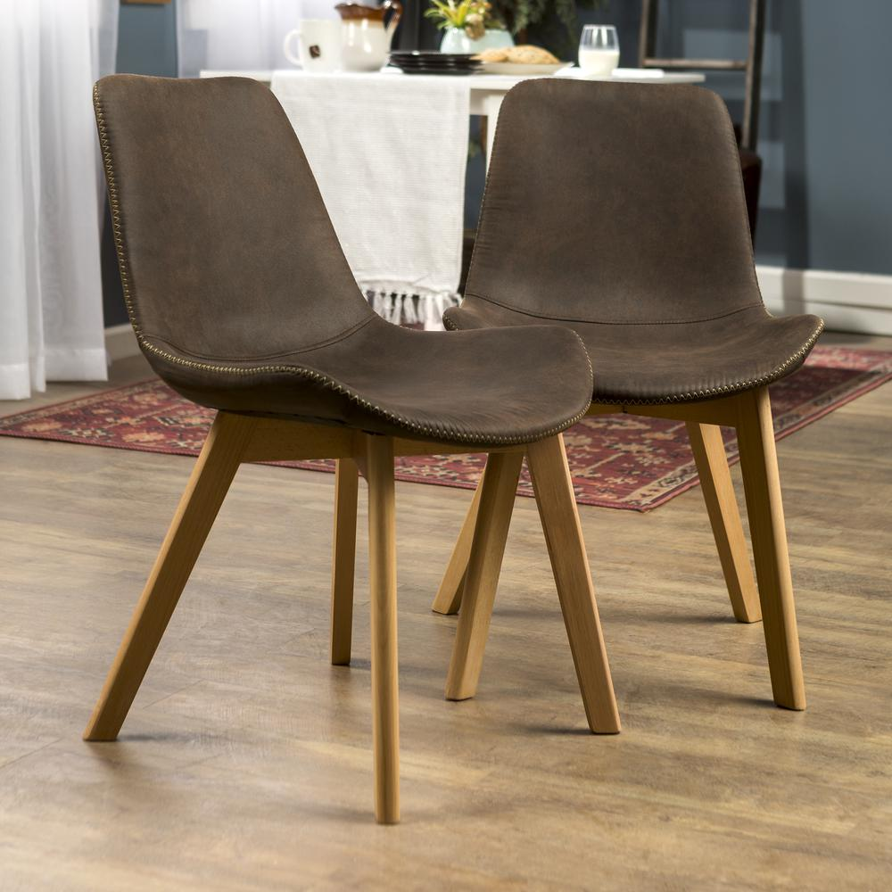 Suede Side Chair with Edge Stitching, Set of 2 - Brown. Picture 4