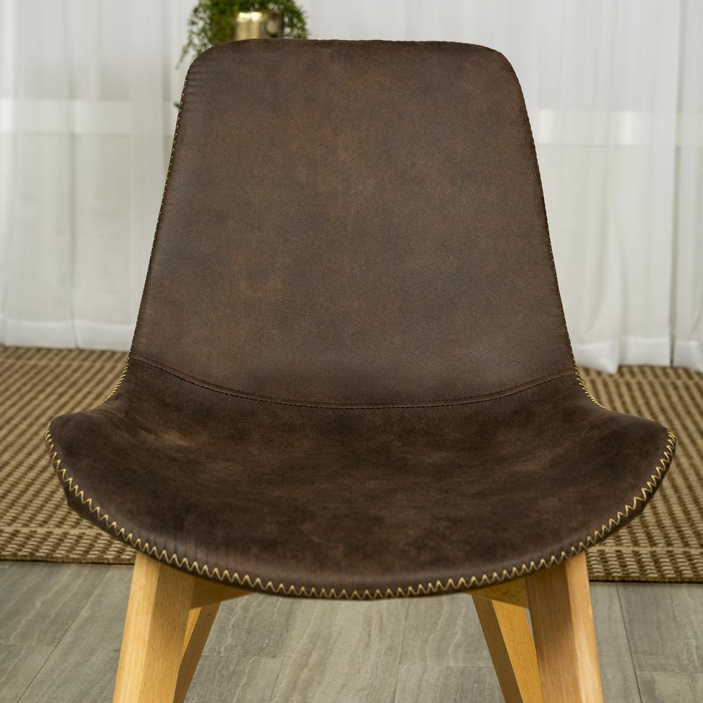 Suede Side Chair with Edge Stitching, Set of 2 - Brown. Picture 2