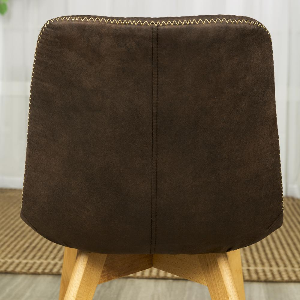 Suede Side Chair with Edge Stitching, Set of 2 - Brown. Picture 5