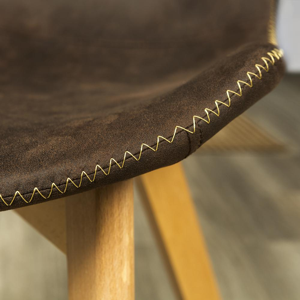 Suede Side Chair with Edge Stitching, Set of 2 - Brown. Picture 3