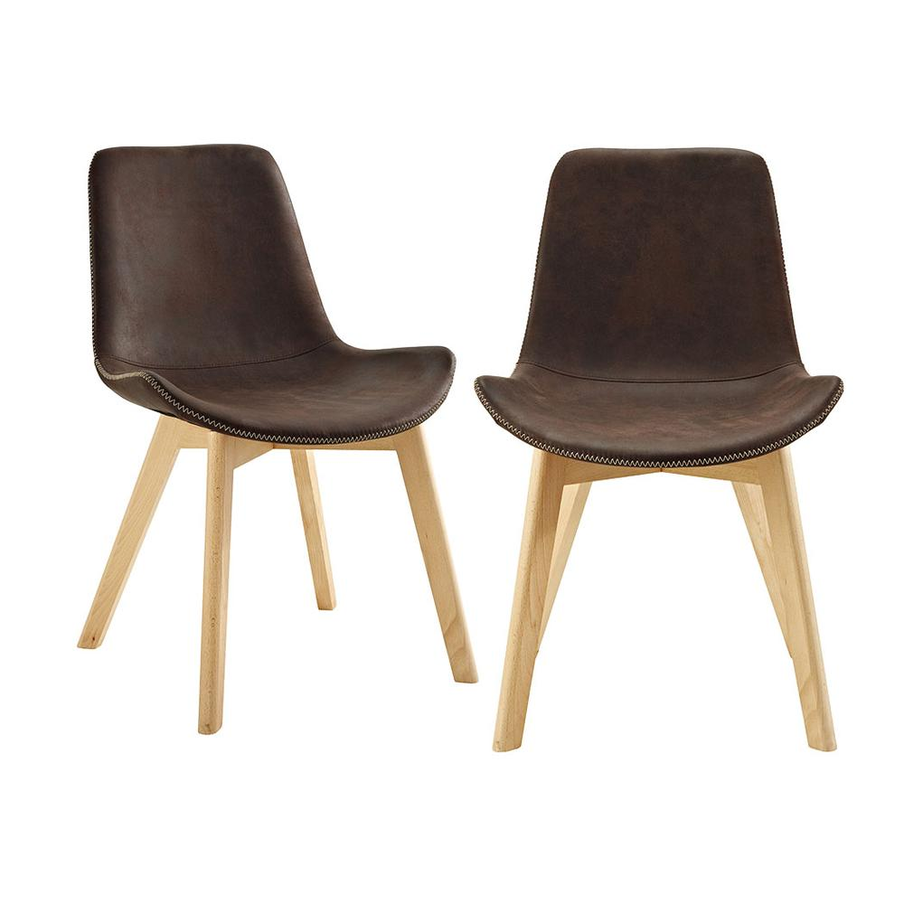 Suede Side Chair with Edge Stitching, Set of 2 - Brown. Picture 1