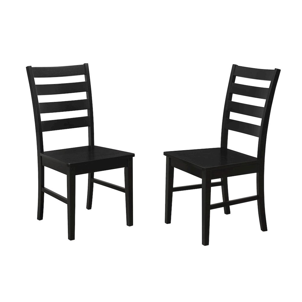 Wood Ladder Back Dining Chair Set Of 2 Black