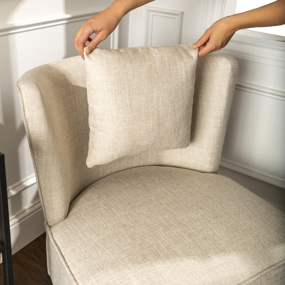 Modern Accent Chair With Curved Back Ivory