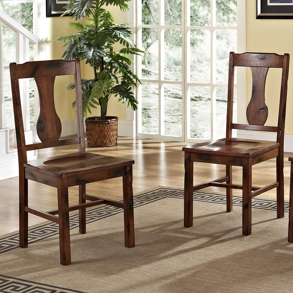 Dark Oak Wood Dining Chairs, Set of 2. Picture 2