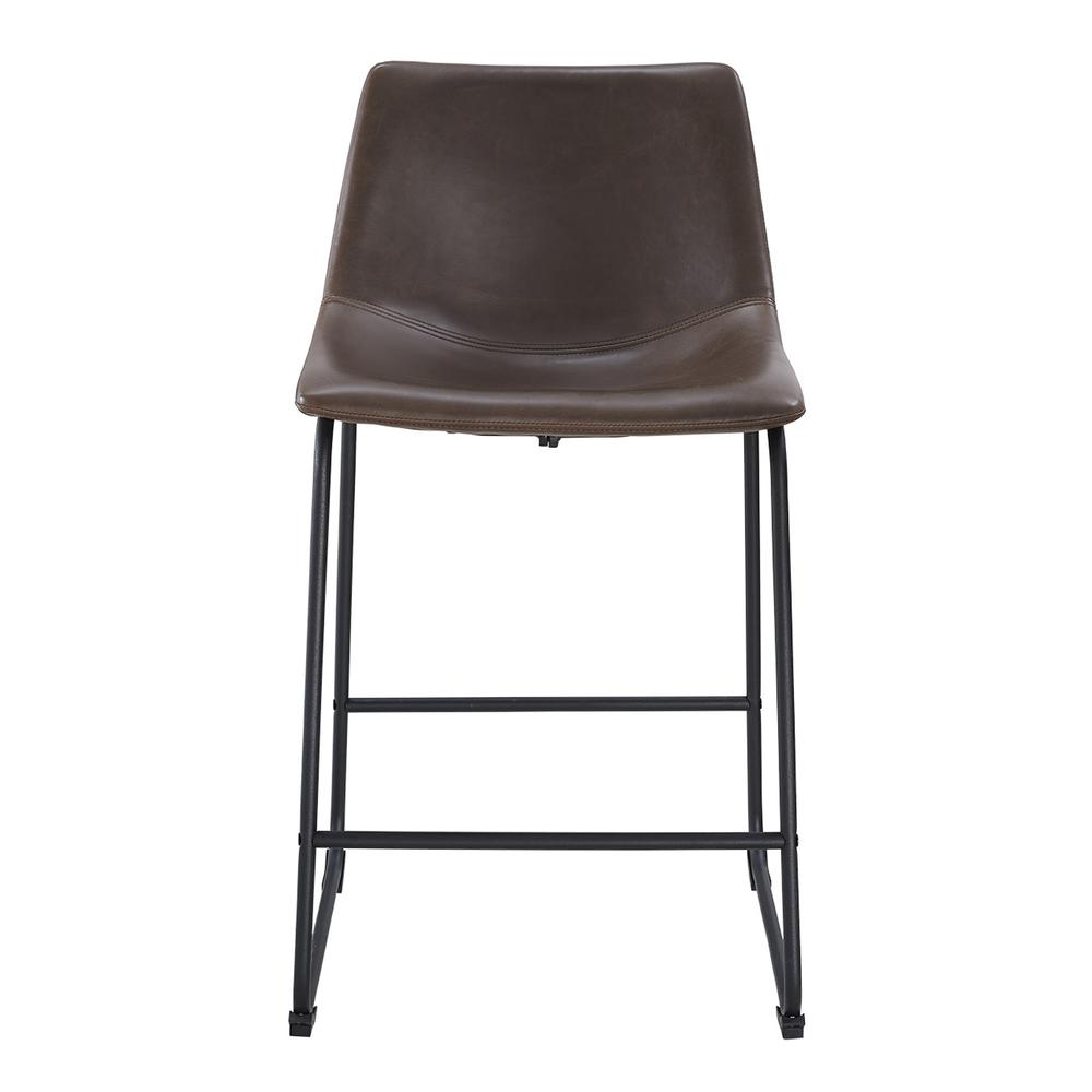 brown faux leather counter stools set of 2. Black Bedroom Furniture Sets. Home Design Ideas