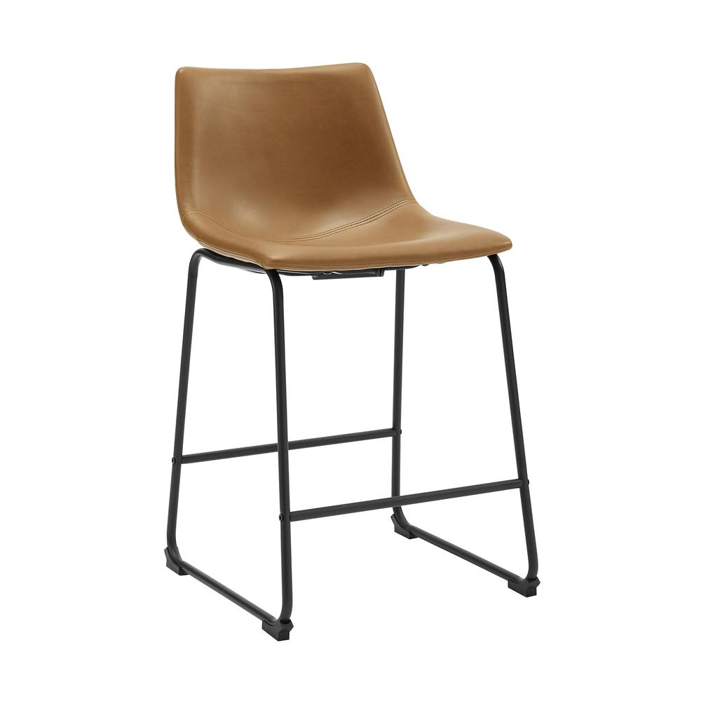 """26"""" Industrial Faux Leather Counter Stool, set of 2- Whiskey Brown. Picture 3"""