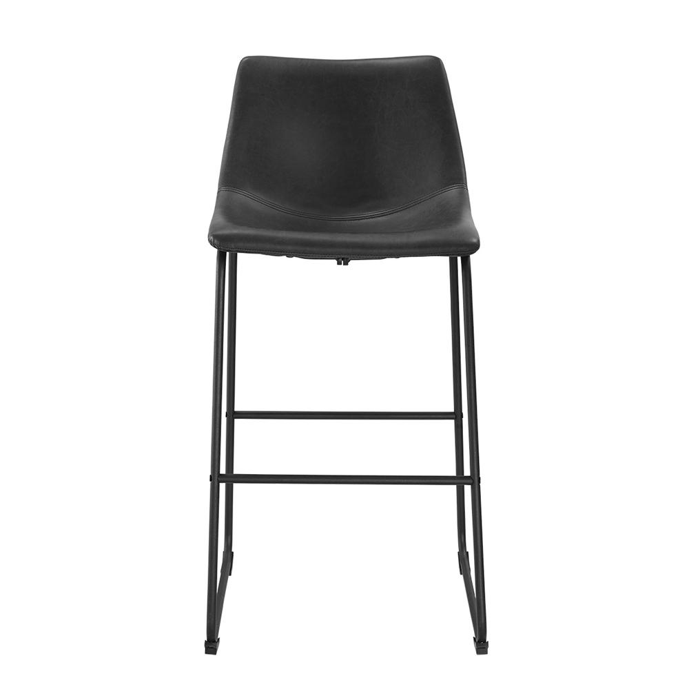 Black Faux Leather Barstools Set Of 2