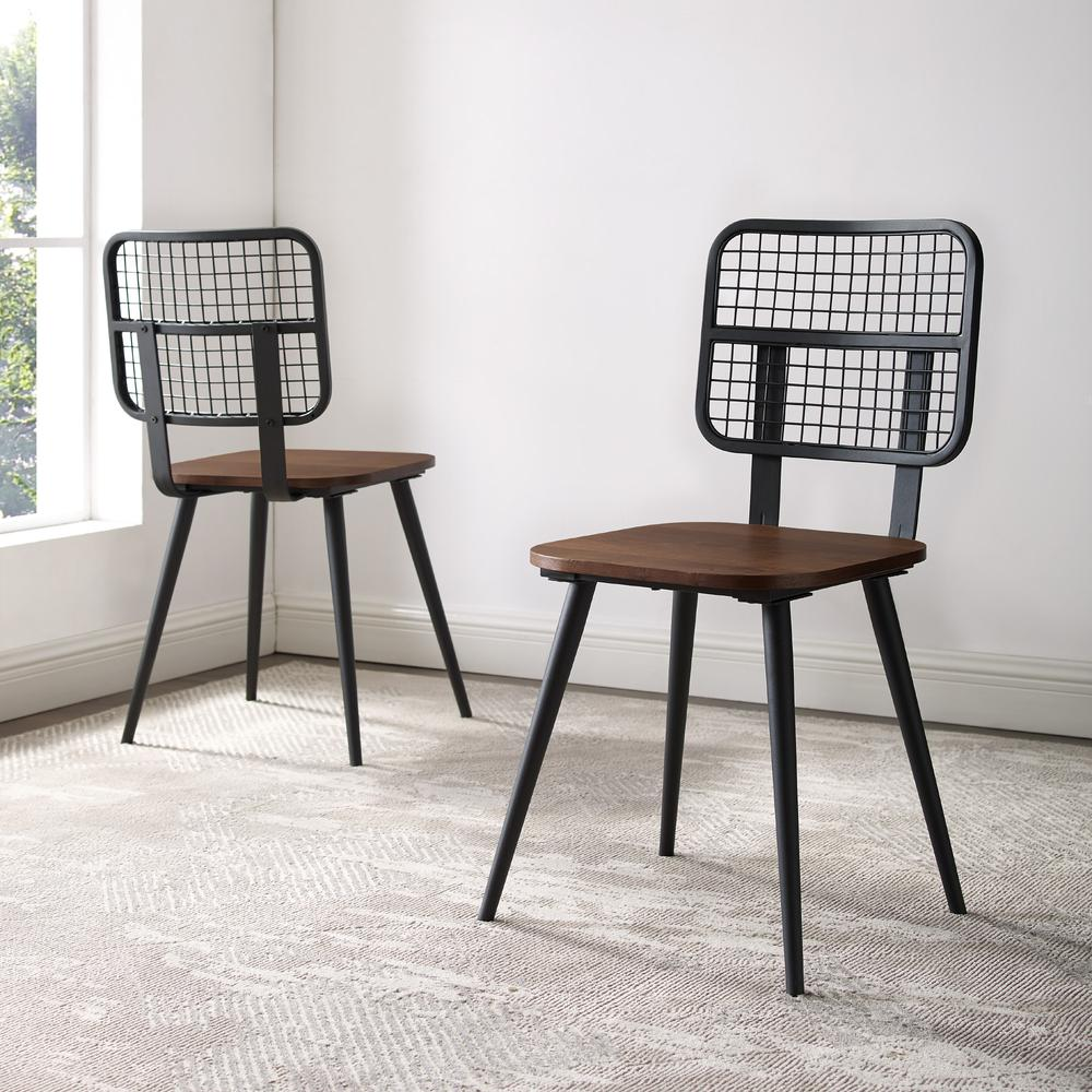 Industrial Mesh Back Dining Chair, Set of 2 - Dark Walnut. Picture 2