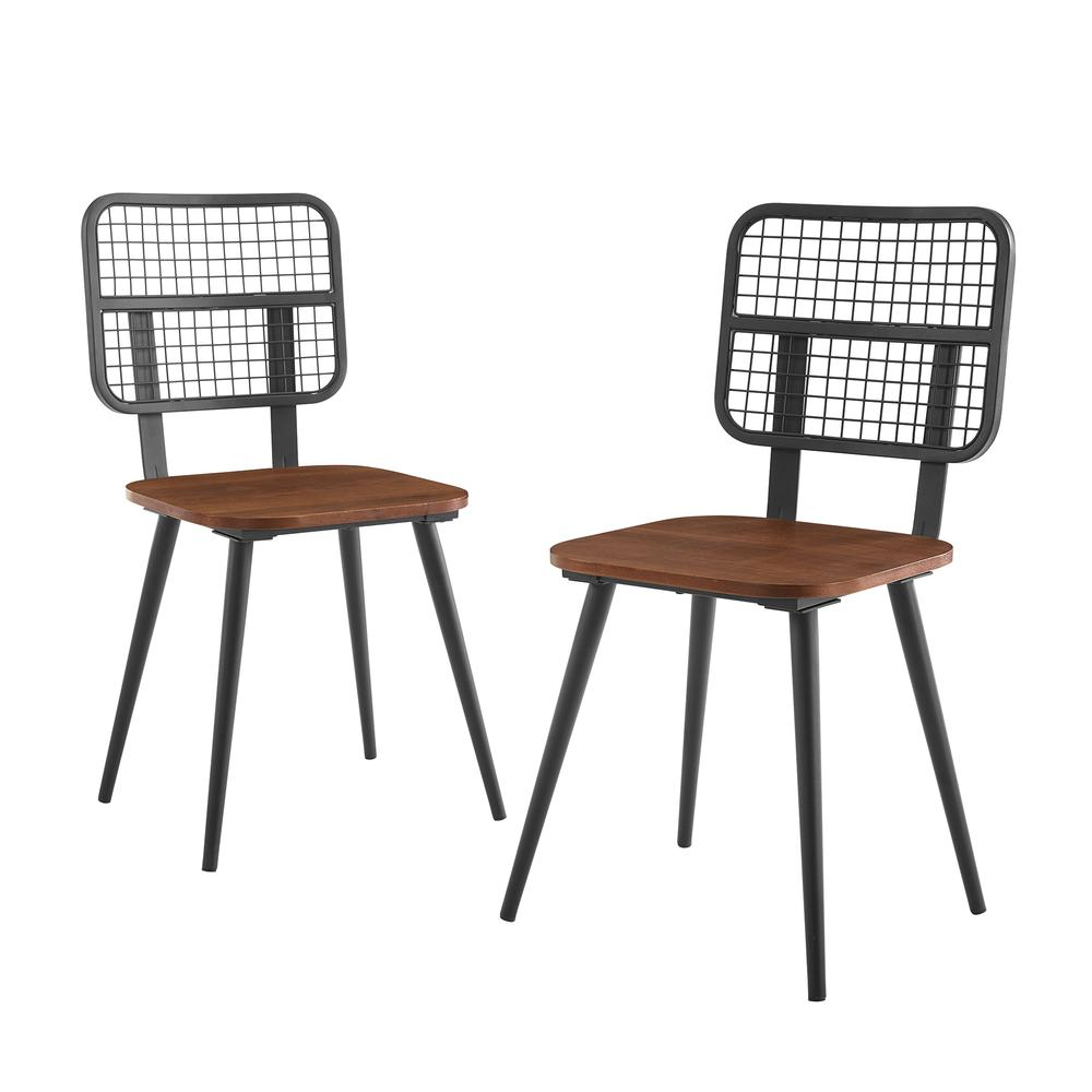 Industrial Mesh Back Dining Chair, Set of 2 - Dark Walnut. Picture 1