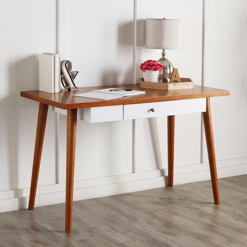 "48"" Mid-Century Wood Computer Desk. Picture 1"