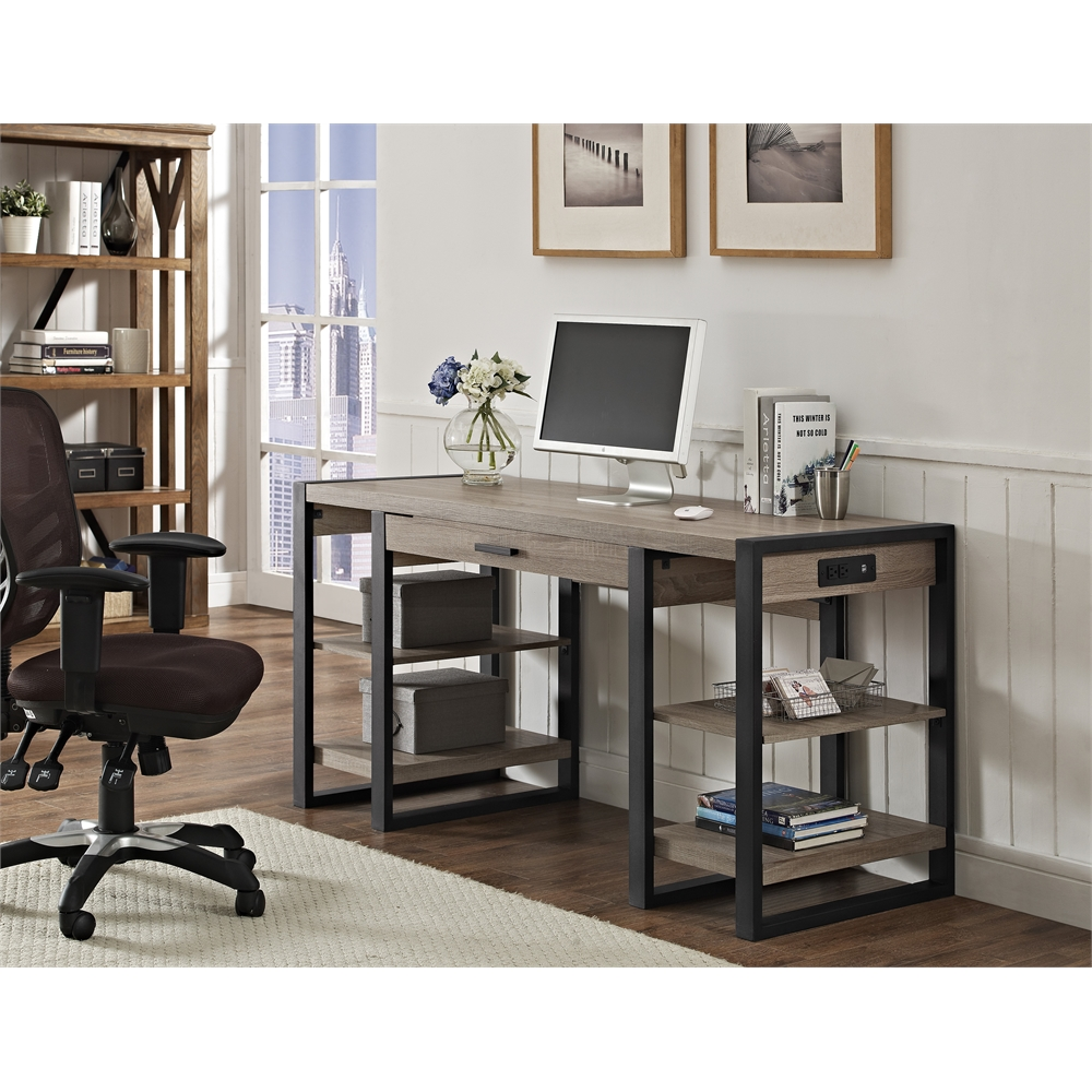 "60"" Urban Blend Storage Desk - Driftwood/Black. Picture 6"