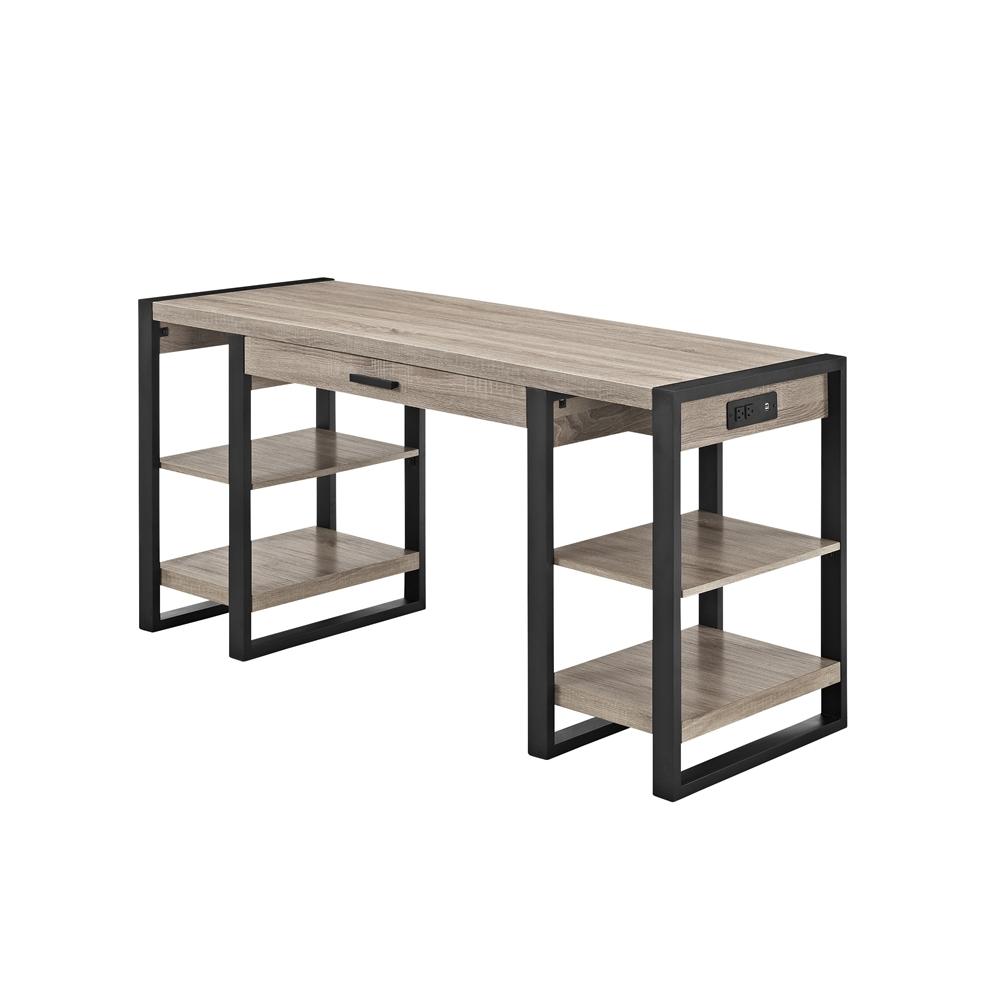 "60"" Urban Blend Storage Desk - Driftwood/Black. Picture 1"