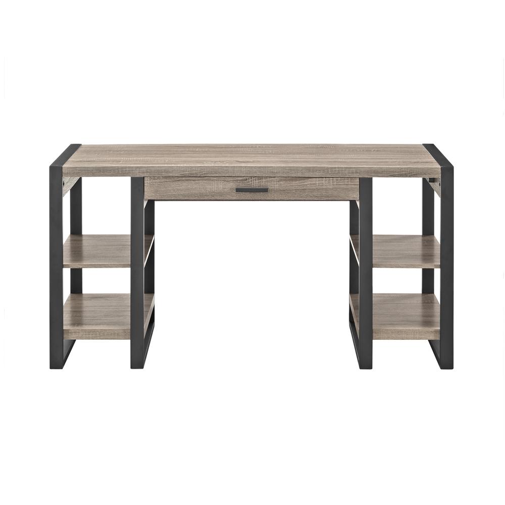 "60"" Urban Blend Storage Desk - Driftwood/Black. Picture 2"