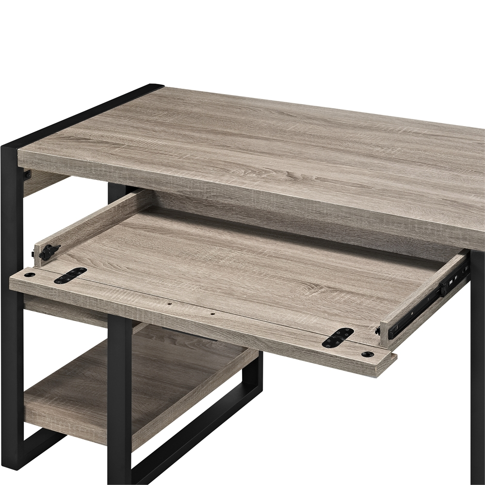 "60"" Urban Blend Storage Desk - Driftwood/Black. Picture 4"