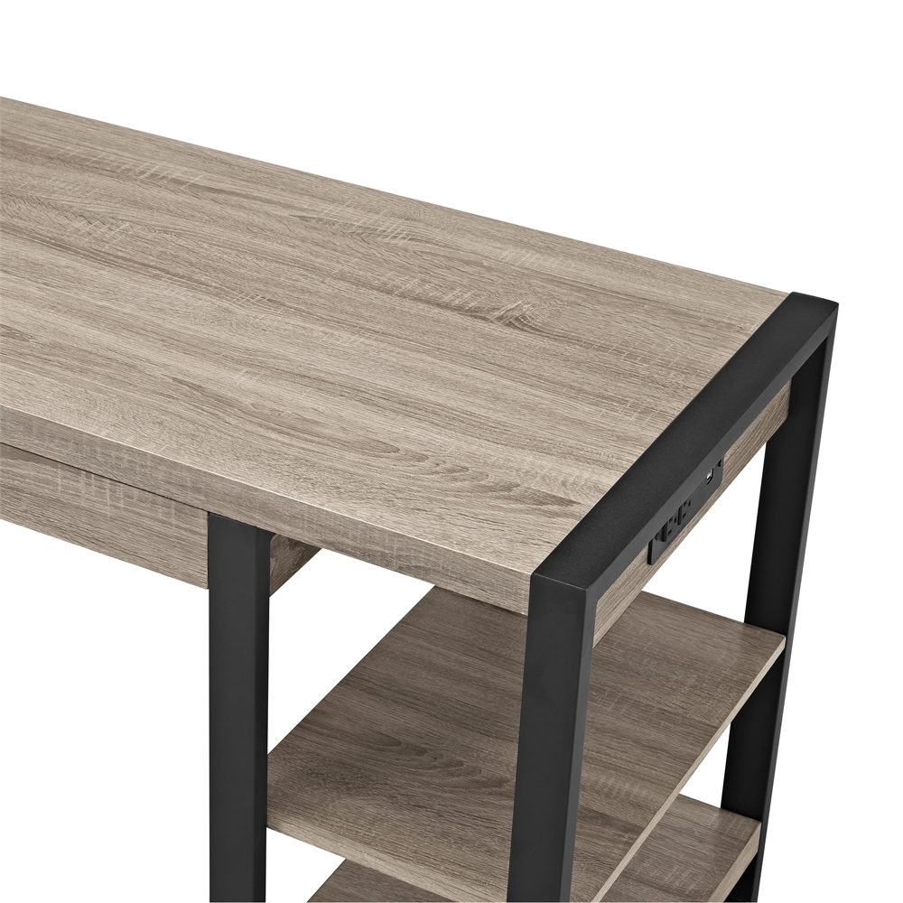 "60"" Urban Blend Storage Desk - Driftwood/Black. Picture 5"
