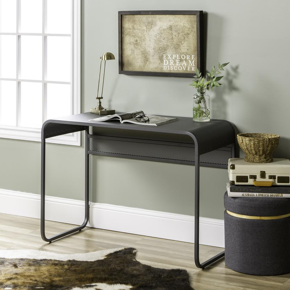 "42"" Urban Industrial Metal Desk with Curved Top - Gunmetal Grey. Picture 2"