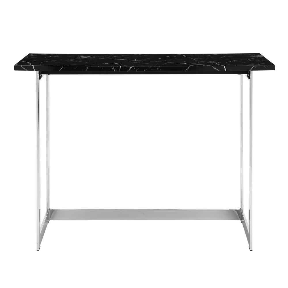"42"" Black Faux Marble and Chrome Writing Desk. Picture 4"