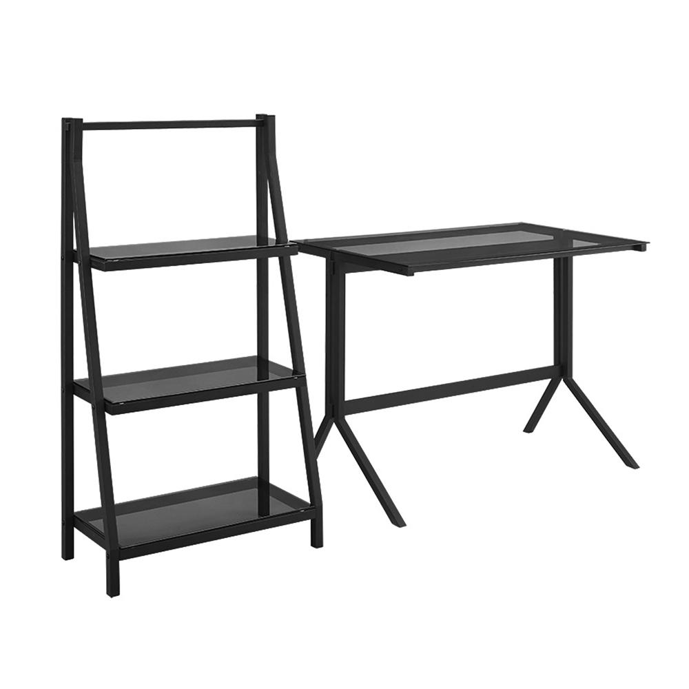 48 Quot Glass Desk And Shelf Combo Smoke Black