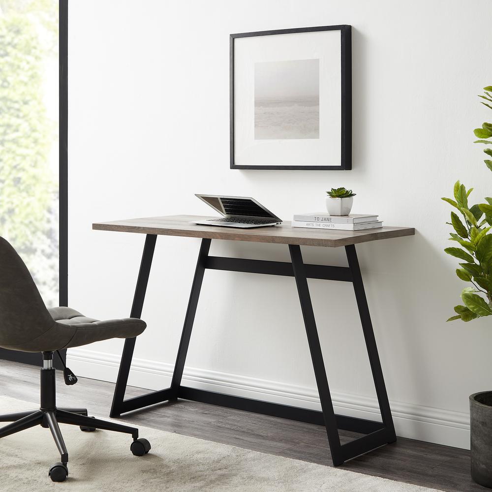 "42"" Urban Industrial Metal Wrap Writing Computer Desk - Grey Wash. Picture 2"