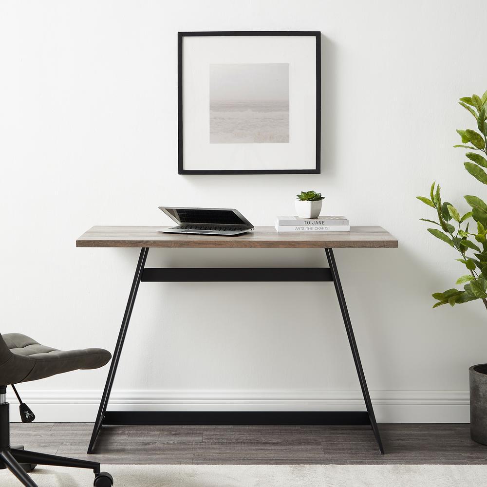 "42"" Urban Industrial Metal Wrap Writing Computer Desk - Grey Wash. Picture 1"