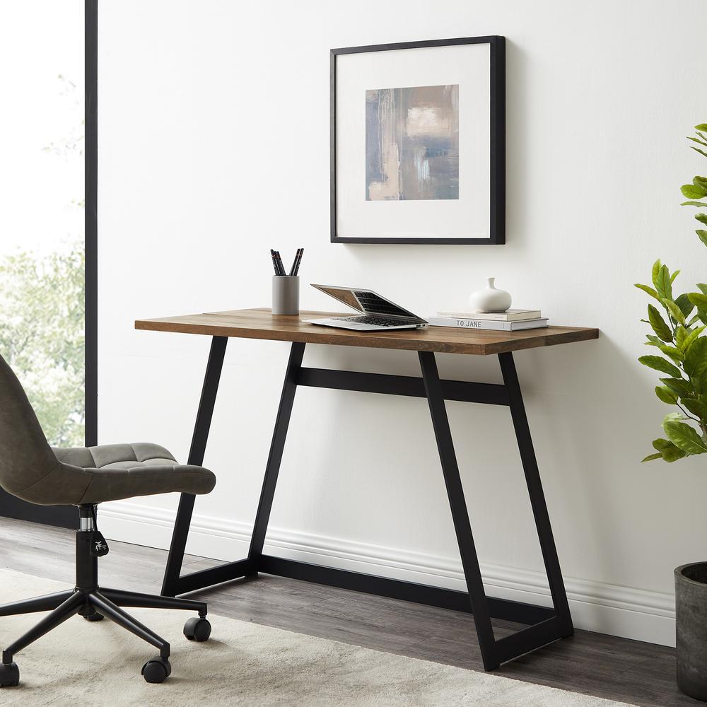 "42"" Urban Industrial Metal Wrap Writing Computer Desk - Rustic Oak. Picture 2"