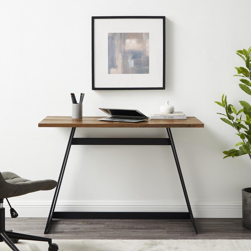 "42"" Urban Industrial Metal Wrap Writing Computer Desk - Rustic Oak. Picture 1"