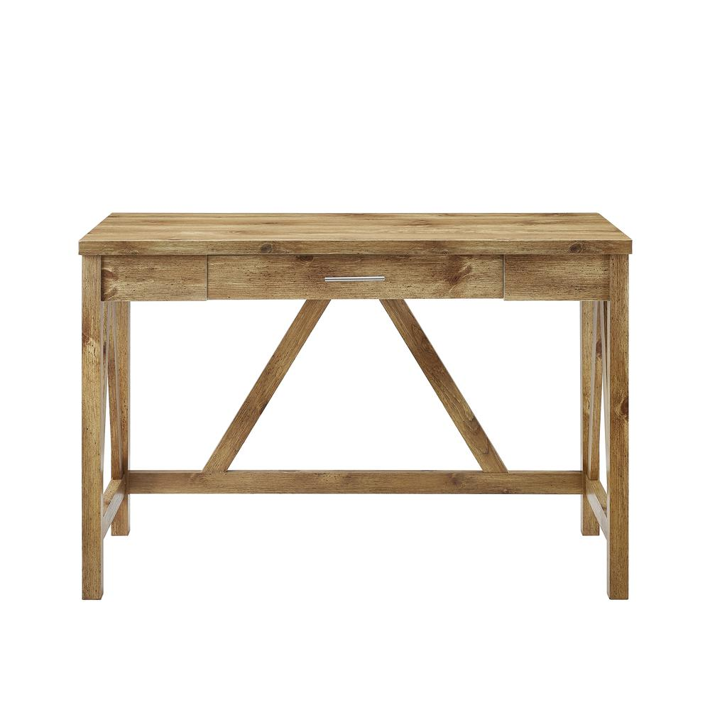 "46"" Rustic Farmhouse A-Frame Computer Desk with Drawer - Barnwood. Picture 3"