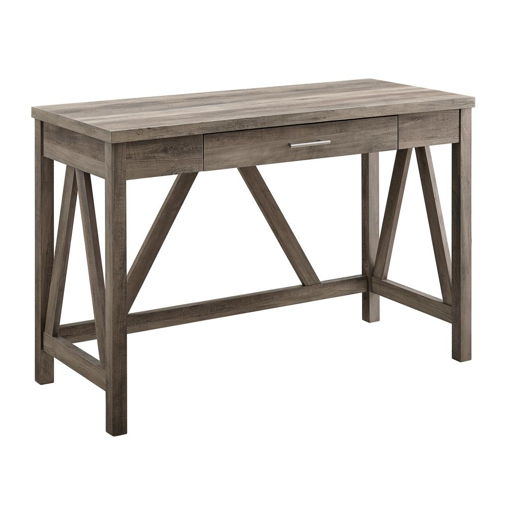 "46"" Rustic Farmhouse A-Frame Computer Desk with Drawer - Grey Wash. Picture 4"