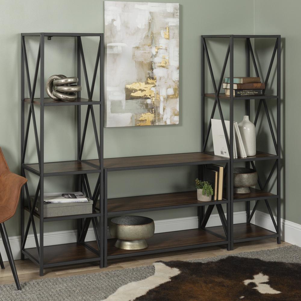 3-Piece Rustic Industrial Bookcase Set - Dark Walnut. Picture 2