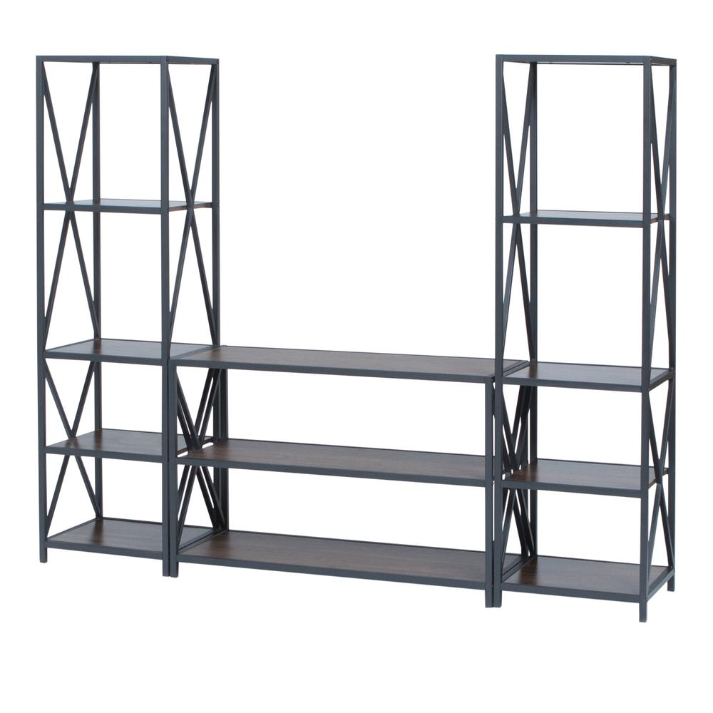 3-Piece Rustic Industrial Bookcase Set - Dark Walnut. Picture 3