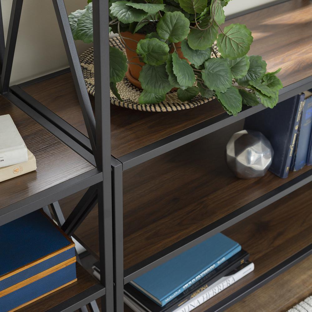 3-Piece Rustic Industrial Bookcase Set - Dark Walnut. Picture 4