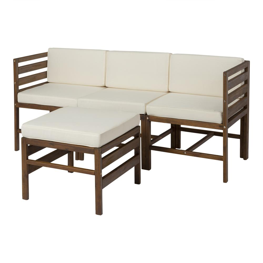 4-Piece Modular Acacia - 3 seat + Ottoman - Dark Brown. Picture 1