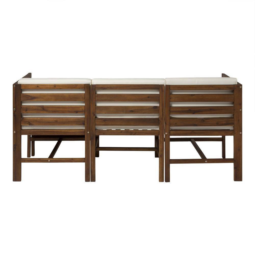4-Piece Modular Acacia - 3 seat + Ottoman - Dark Brown. Picture 4