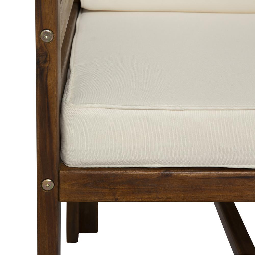 4-Piece Modular Acacia - 3 seat + Ottoman - Dark Brown. Picture 5