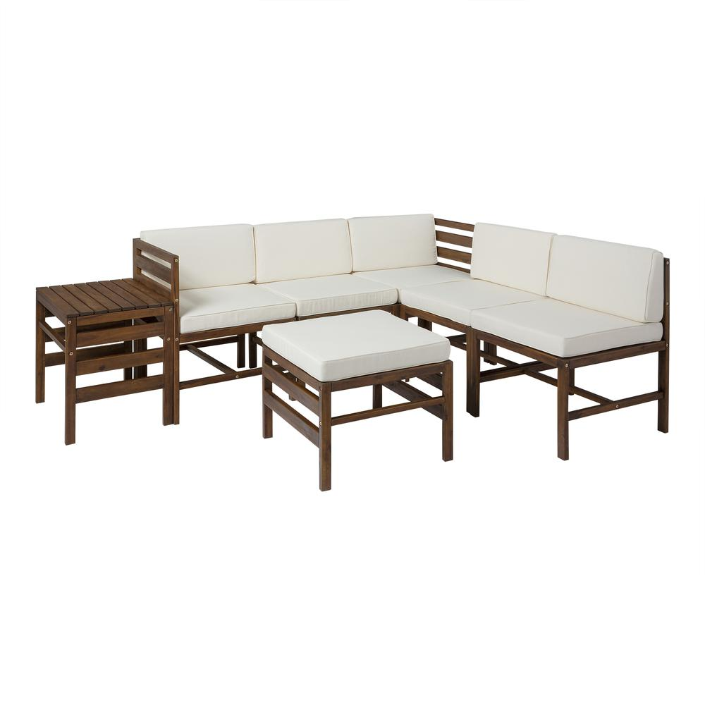 7-Piece Modular Acacia - 5 seat + Ottoman + side table - Dark Brown. Picture 1