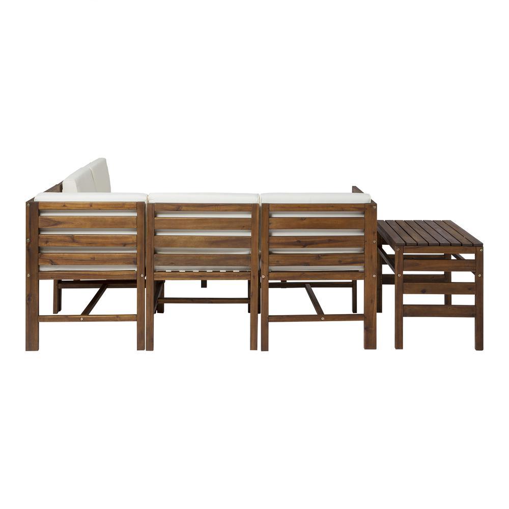 7-Piece Modular Acacia - 5 seat + Ottoman + side table - Dark Brown. Picture 4