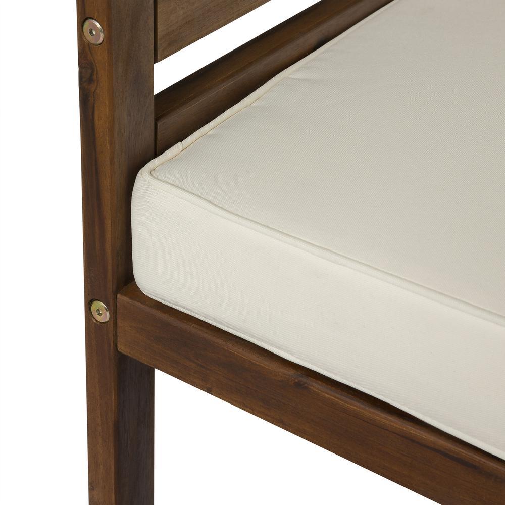 7-Piece Modular Acacia - 5 seat + Ottoman + side table - Dark Brown. Picture 5
