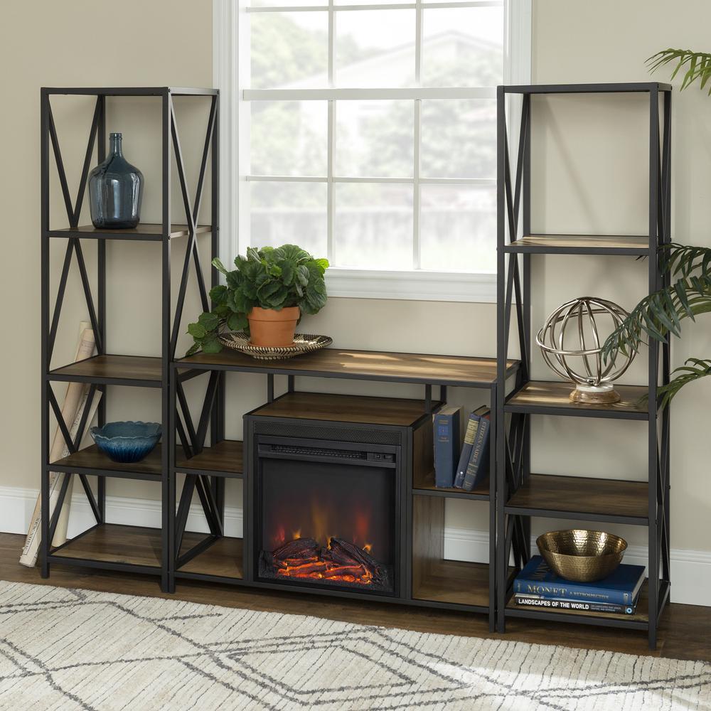 3-Piece Rustic Fireplace TV Stand Set - Rustic Oak. Picture 2