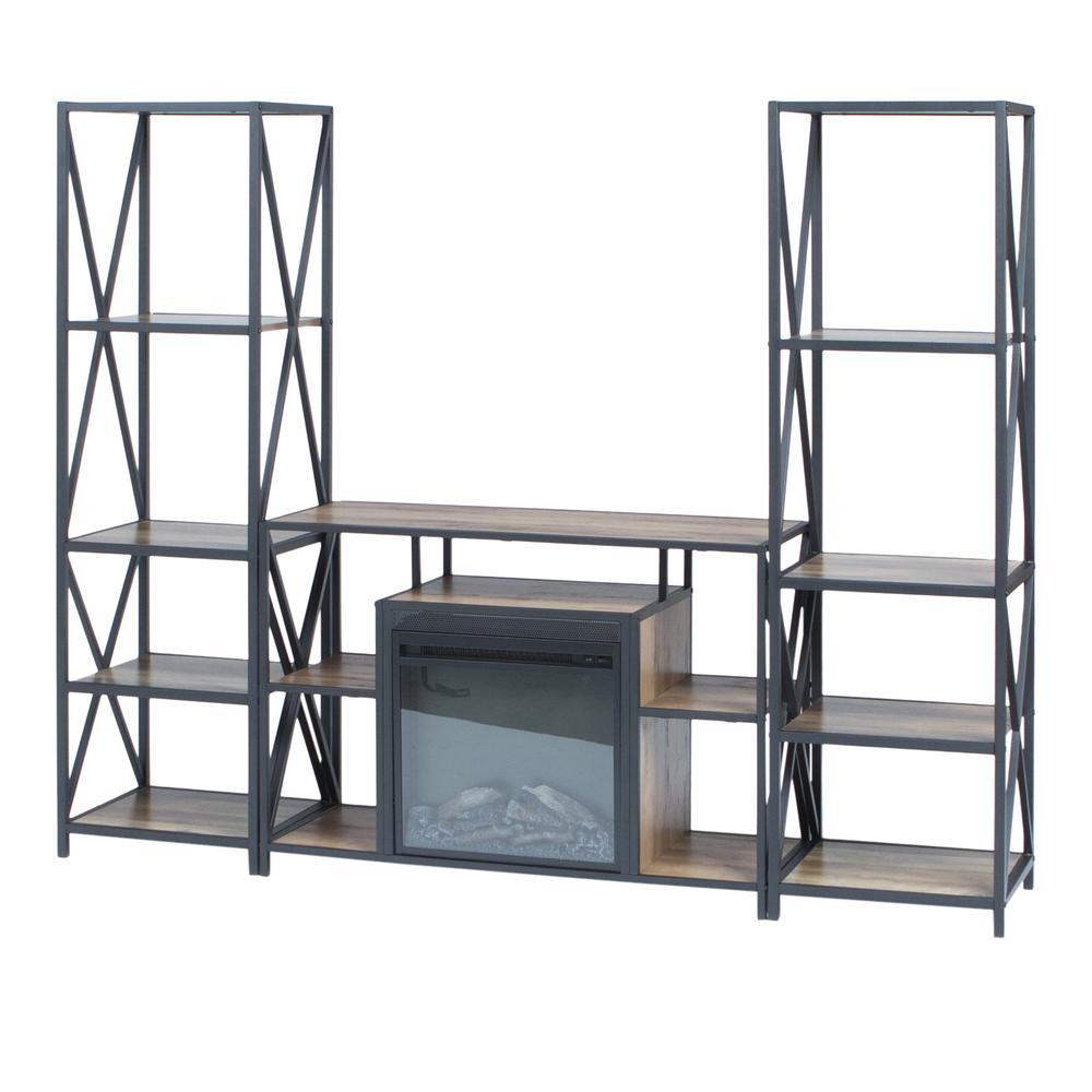3-Piece Rustic Fireplace TV Stand Set - Rustic Oak. Picture 3