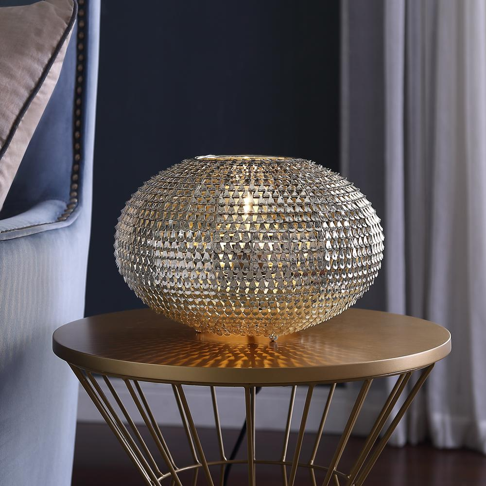 """8"""" Hand-Crafted Globe Sparkle Table Lamp - Nickel. Picture 3"""