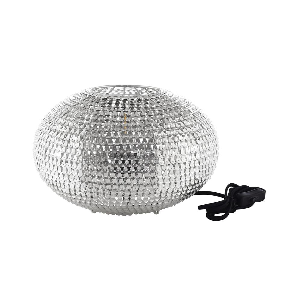 """8"""" Hand-Crafted Globe Sparkle Table Lamp - Nickel. Picture 1"""